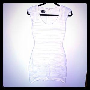 White Bebe bodycon dress with cutout